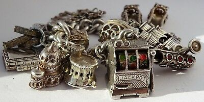Amazing vintage solid sterling silver charm bracelet & many charms, rare, moving