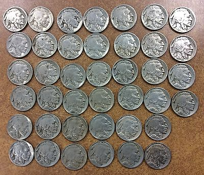 1938 D BUFFALO NICKELS ROLL of 40 CIRCULATED FULL DATE VG-VF