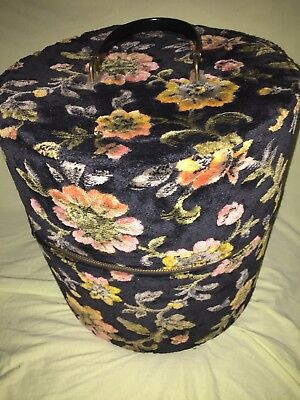Vintage Wig Zippered Carrying Case Brocade Tapestry