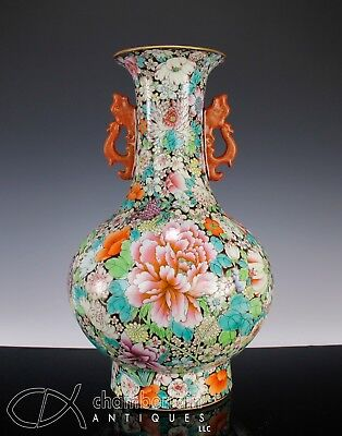 Large Chinese Porcelain Mille Fleur Vase With Gilt Accented Handles