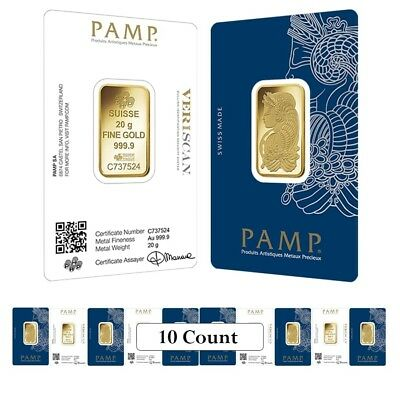 Lot of 10 - 20 gram Gold Bar PAMP Suisse Lady Fortuna Veriscan (In Assay)