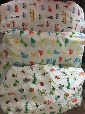 Cot Bed Fitted Sheets For Boys Dinosaurs Bugs Cars x 3