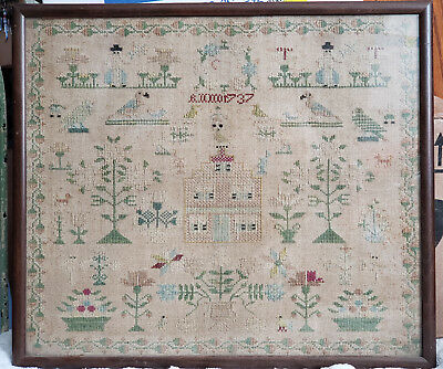 1737 Embroidery Cross Stitch Sampler Needlework Antique (British? Colonial US?)