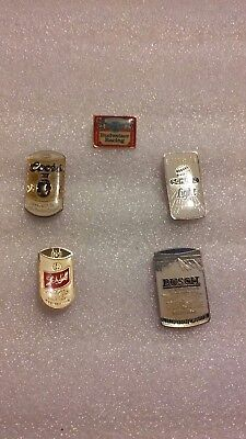 Vintage Lot of 5-Different BEER Advertising Hat/Lapel Pins