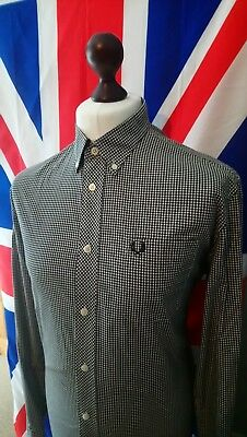 Fred Perry Button Down Gingham Shirt - Large - Black/White - Mod Casuals 60's