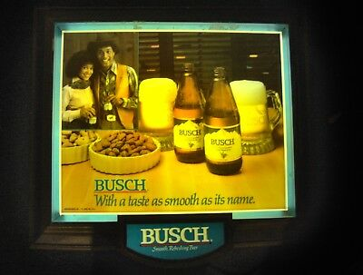 """Vintage Western Busch Beer 19""""  Wall lighted Lamp Sign Works stubby bottles"""