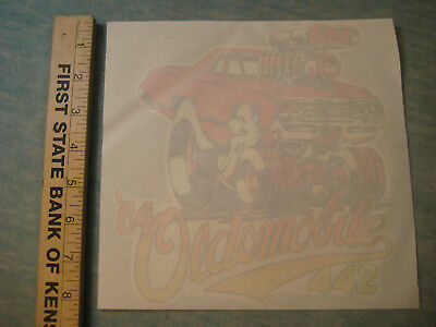 1964 Olds 442, Oldsmobile, Iron-On Transfer, Drag Race Muscle car! Roach NOS
