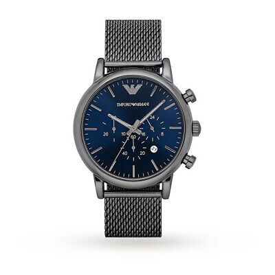 BRAND NEW Emporio Armani Luigi Mesh Blue Dial Chronograph Mens Watch AR1979