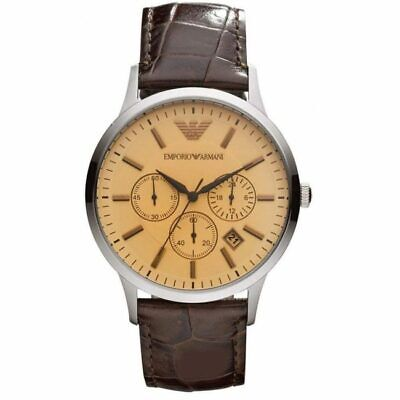 BRAND NEW Emporio Armani Brown Leather Strap Chronograph Mens Watch AR2433