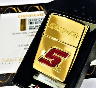 24Ct Gold Plated Zippo Snap On Tools Flip Top Refillable Lighter Gift Boxed 24K