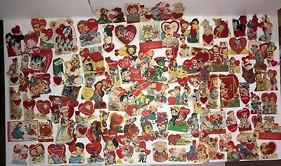 Lot of 115 Vintage Antique Valentine's Day Die Cut Cards from 1940's-1950's