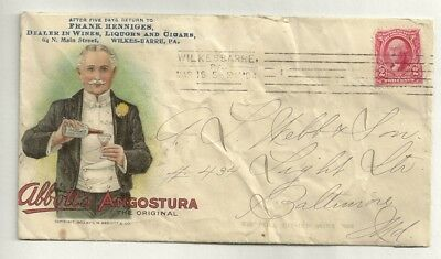 1904 Advertising Cover FRANK HENNIGES LIQUORS CIGARS ABBOTS ANGOSTURA LITHO