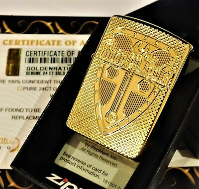 24Ct Gold Plated Zippo Snap On Shield Refillable Lighter Mechanic Gift Boxed 24K