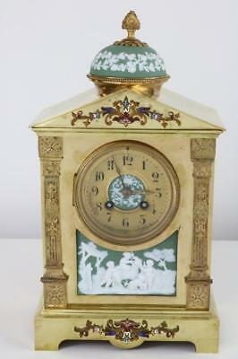ANTIQUE CHAMPLEVE & WEDGWOOD PORCELAIN MANTEL CLOCK by JAPY FRERES gilt bronze