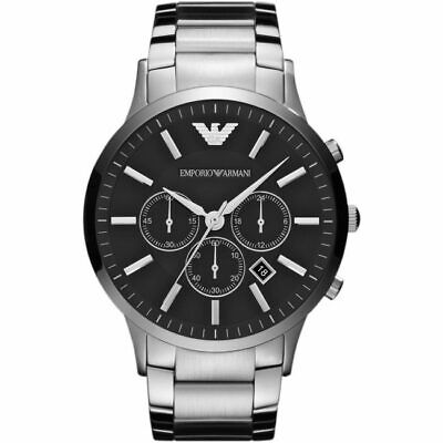 BRAND NEW Emporio Armani Sportivo Black Dial Stainless Steel Mens Watch AR2460