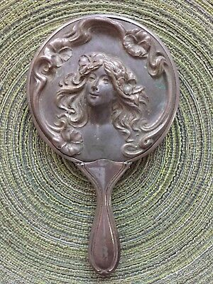 Antique Art Nouveau Sterling Silver-plated  Hand Mirror Woman w Hair Flowers