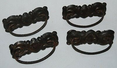 Lot of (4) Vintage Antique Brass Bronze Plate Tin Drop Handle Drawer Pulls