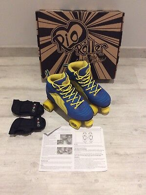 Rio Roller, Blue And Yellow Roller Boots. Size 5. With Wrist Guards.