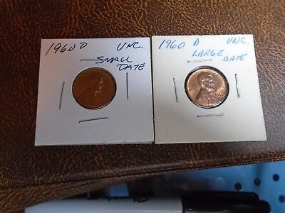 1960-D Small Date Lincoln Memorial Cent & 1960-D Large Date Cent - Unc