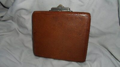 Antique Leather Card Case With Expanding Sides 15cm x 13cm