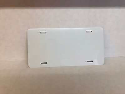 """(5) Aluminum White License Plate Blank for Sublimation 6"""" x 12"""""""