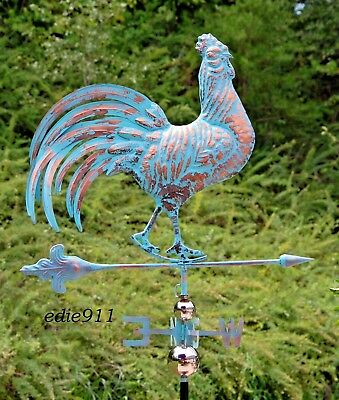 3D Strutting ROOSTER Weathervane AGED COPPER PATINA FINISH Lg & Functional NEW