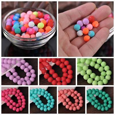 """Hot Sale Glass Matte Rubber Neon Round Loose Spacer Beads 15"""" 8mm Bulk Pick"""