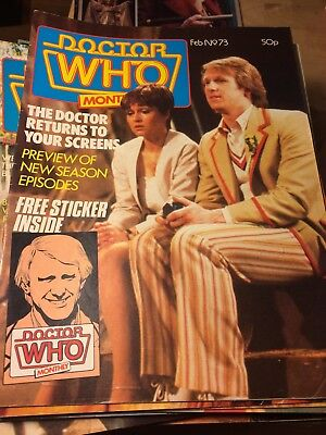 DWM 73 DOCTOR DR WHO MAGAZINE Feb 1983 Peter Davison No Free Sticker