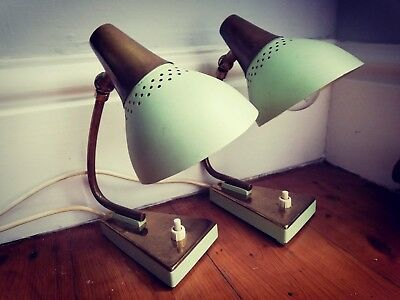 Mid-Century Bedside Lamps Pair, brass, Danish, retro vintage, Goose Neck