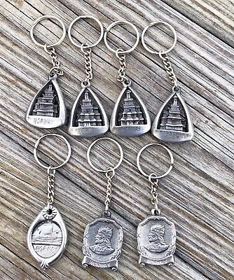 Vintage Lot of 7 Norway Viking Ship Pewter Key Chain New Old Store Stock