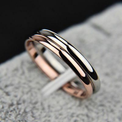 Wedding Gold/Silver/Gold/Black 2MM Steel Smooth Band Stainless Ring Couples Rose