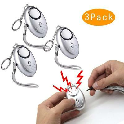 Safesound 3 Pack Personal Alarm Women Keychain 130db Safety Emergency Silver
