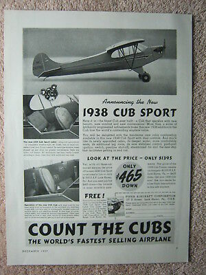Vintage 1937 1938 New Piper Cub Sport Personal Aircraft Airplane Print Ad