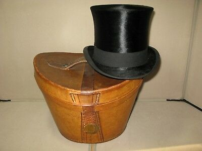 Antique Vintage Leather Top Hat Case Ascot