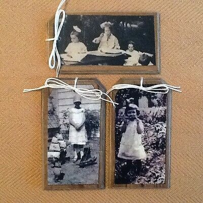 5 Handcrafted Wooden Prim Babies and Mothers Hang Tags/Ornaments SET*0