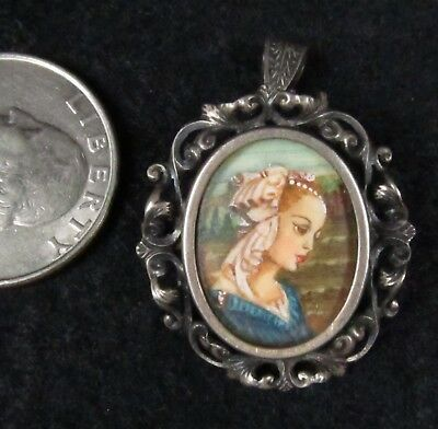 Antique Italian Hand Painted Mary Portrait 800 Silver Filigree Brooch Pendant