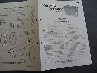 Philips Model PA1 SERVICE NOTES