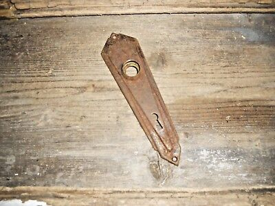 Vtg Rustic Shabby Chippy Metal Art Deco Door Knob Skeleton Key Hole Back Plate