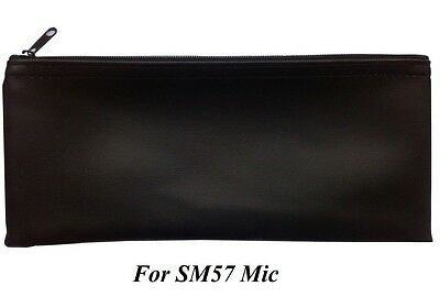 "Black Zipper Microphone Case Pouch Bag fits for Shure SM57 Microphone 4.5""x9.7"""