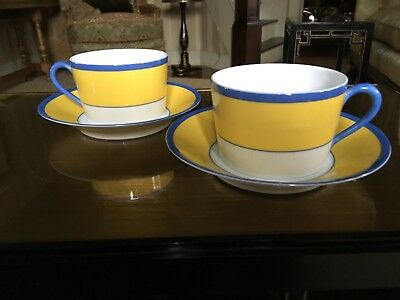 Ch Field Haviland Parlon Limoges Monet Giverny Lg. Breakfast Cups & Saucers (2)