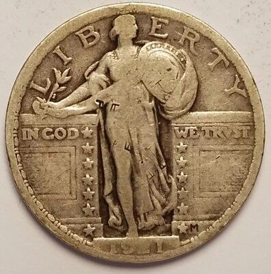 1921 $.25 Standing Liberty Quarter Coin Key Classic 90% Silver Full Weak Date