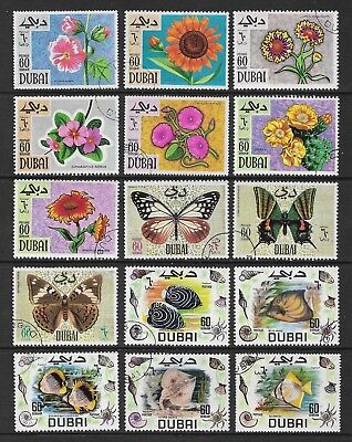 DUBAI mixed collection No.11, Flowers Butterflies Fish, CTO