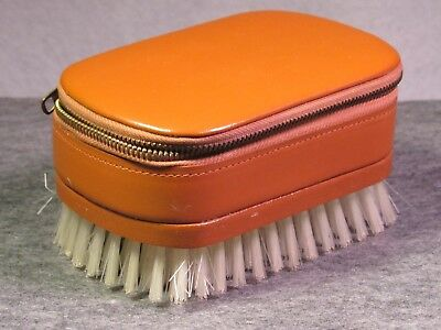 Vintage brown leather zippered shaving case brush