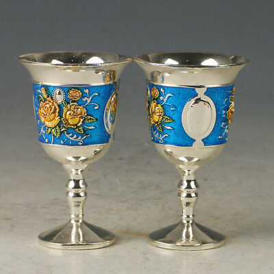 A Pair Of Chinese Exquisite Cloisonne Hand-made Flowers Wine Cup ML0080
