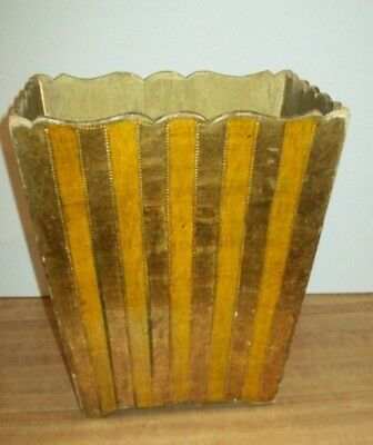 Florentine Wooden Toleware Italian Waste Basket Trash Can Vintage Hollywood GOLD