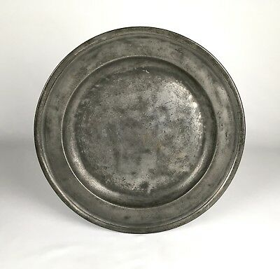 "Antique Pewter Large 15"" Charger Plate RICHARD GOING Georgian Early 18th Century"