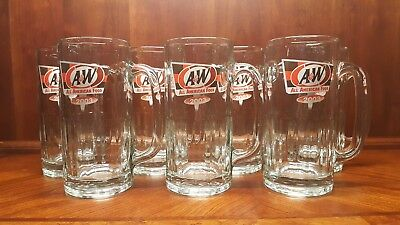 "A&W All American Food Restaurant 2003 Root Beer Mugs 7"" Tall Lot of 7"