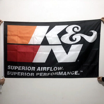 K&N Filters Racing Banner3x5Ft Car Flag Wall Deco Polyester 2Grommets /171
