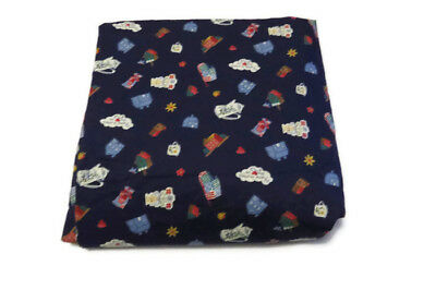 Cotton Sewing Fabric Quilt Craft Bird Houses Teapots Calico Print 5 yds