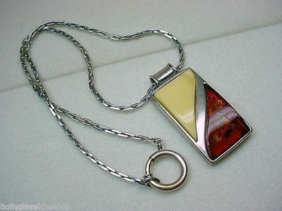 Heavy Sterling Modernist Large Amber Pendant Necklace w Chain